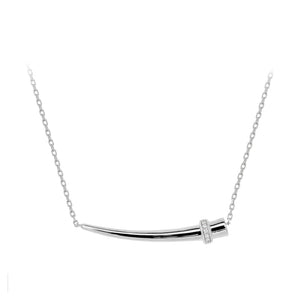 14k white gold horn pendant necklace