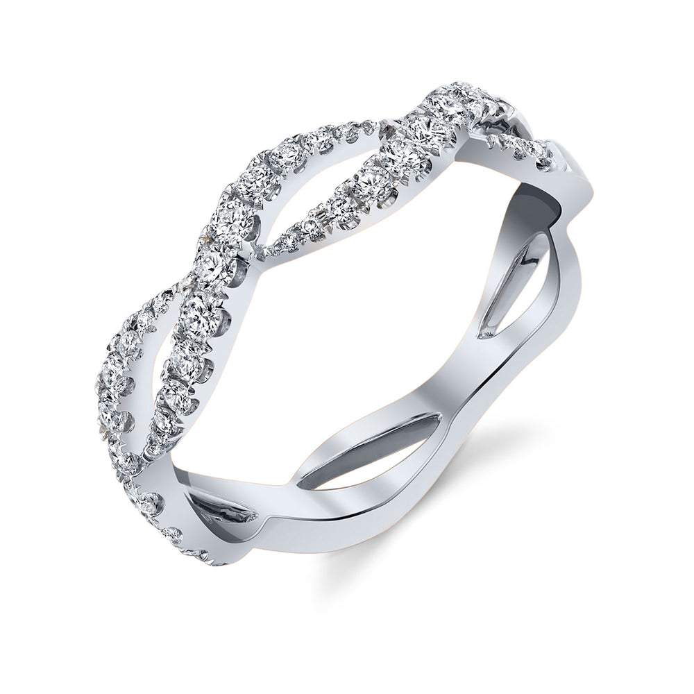 White Gold Infinity Wave Ring - Ledodi