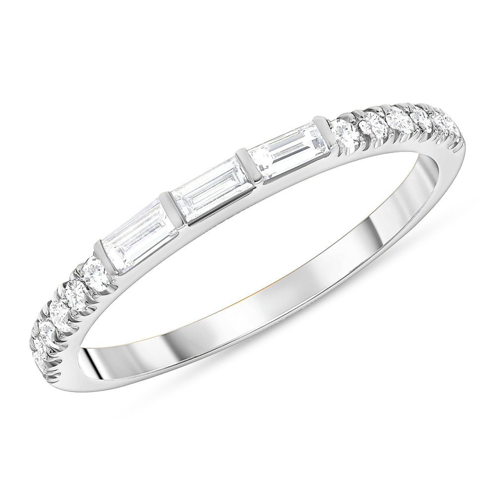 trio baguette and round diamond 14k gold ring