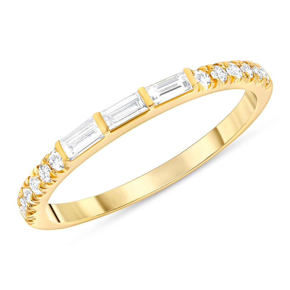 Trio Baguette & Round Diamond Ring