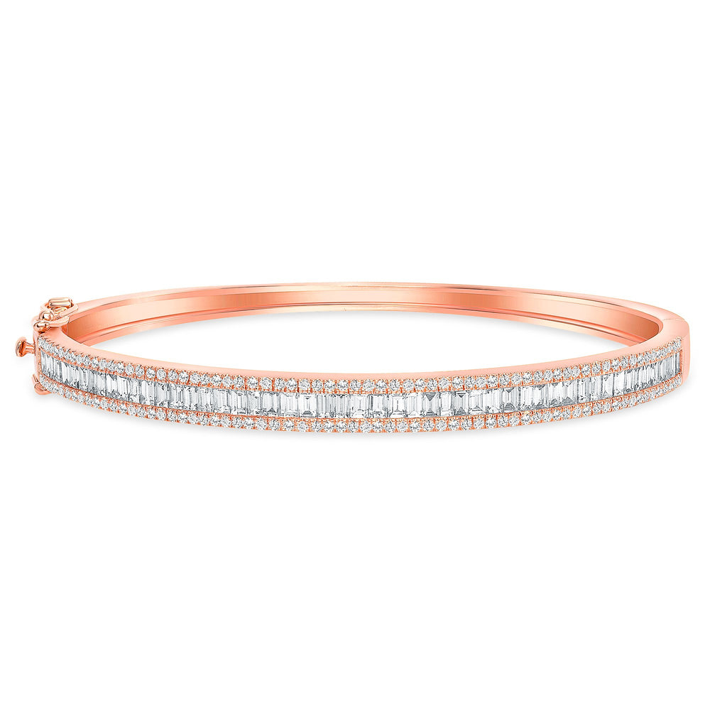 rose gold baguette round diamond bangle 7 inches