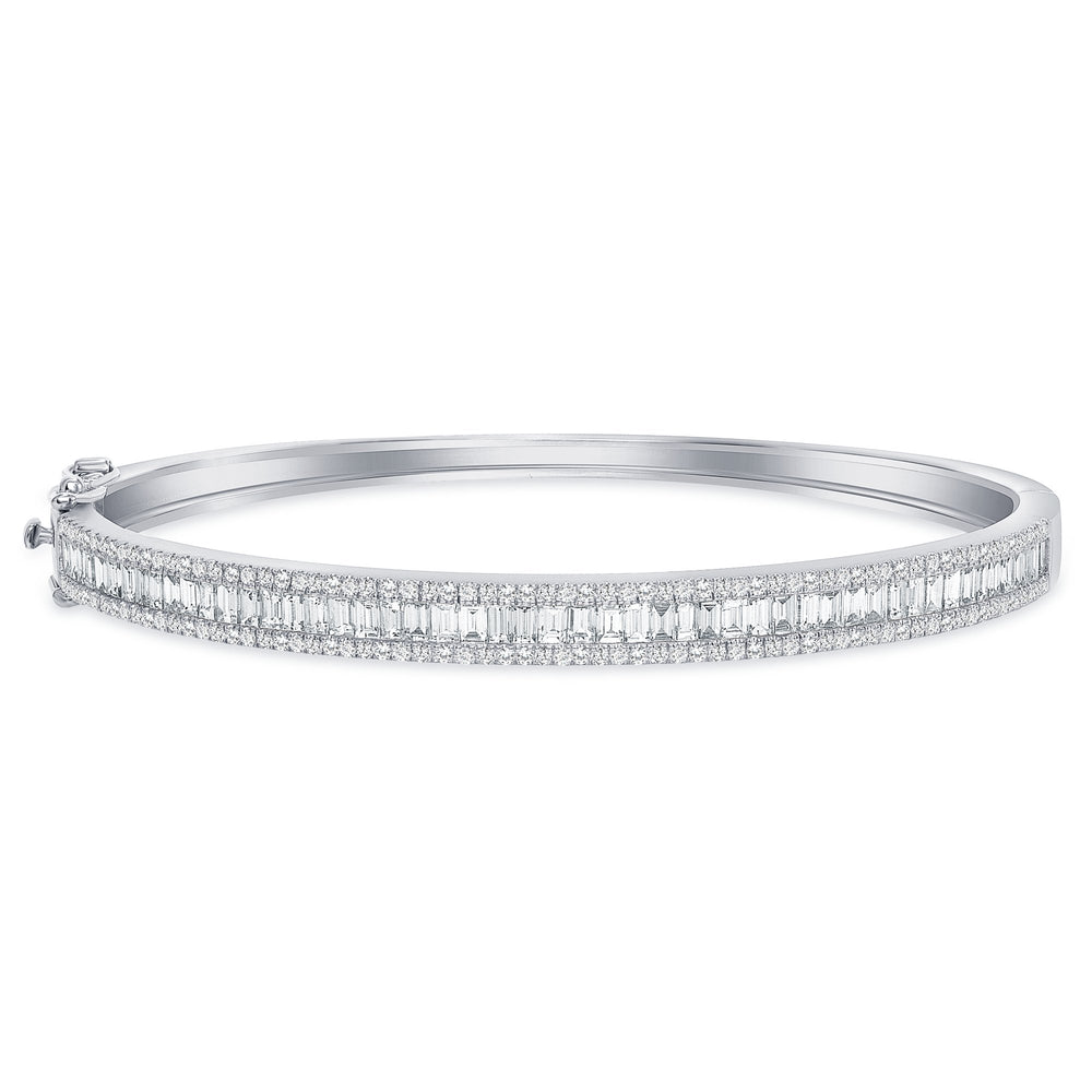 white gold baguette round diamond bangle 7 inches