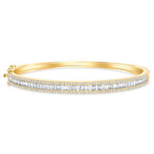 Baguette & Round Diamond Bangle