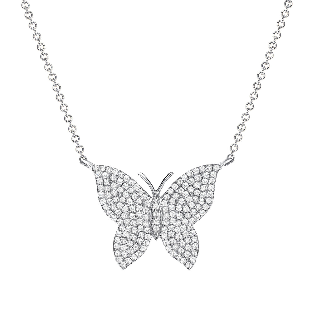 white gold butterfly diamond necklace