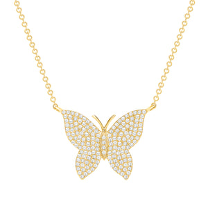 yellow gold butterfly diamond necklace