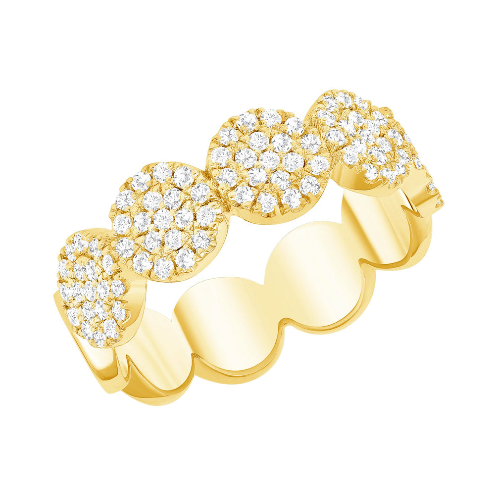 14k yellow round connect cluster diamond ring