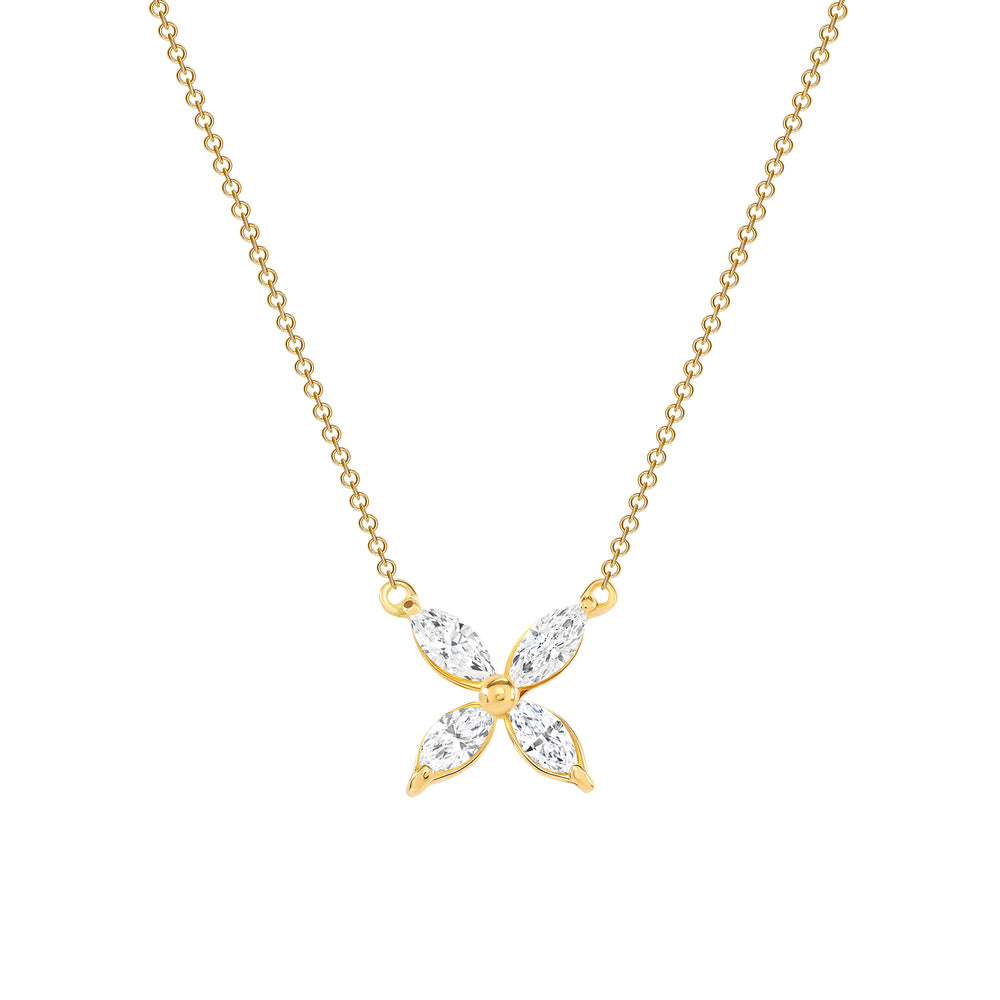 Marquise Diamond Flower Necklace