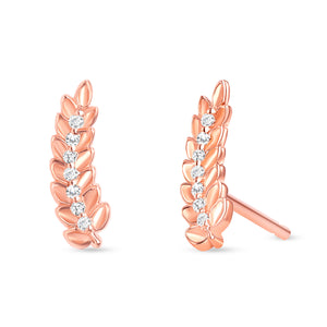Leaf Diamond Earrings Rose Gold