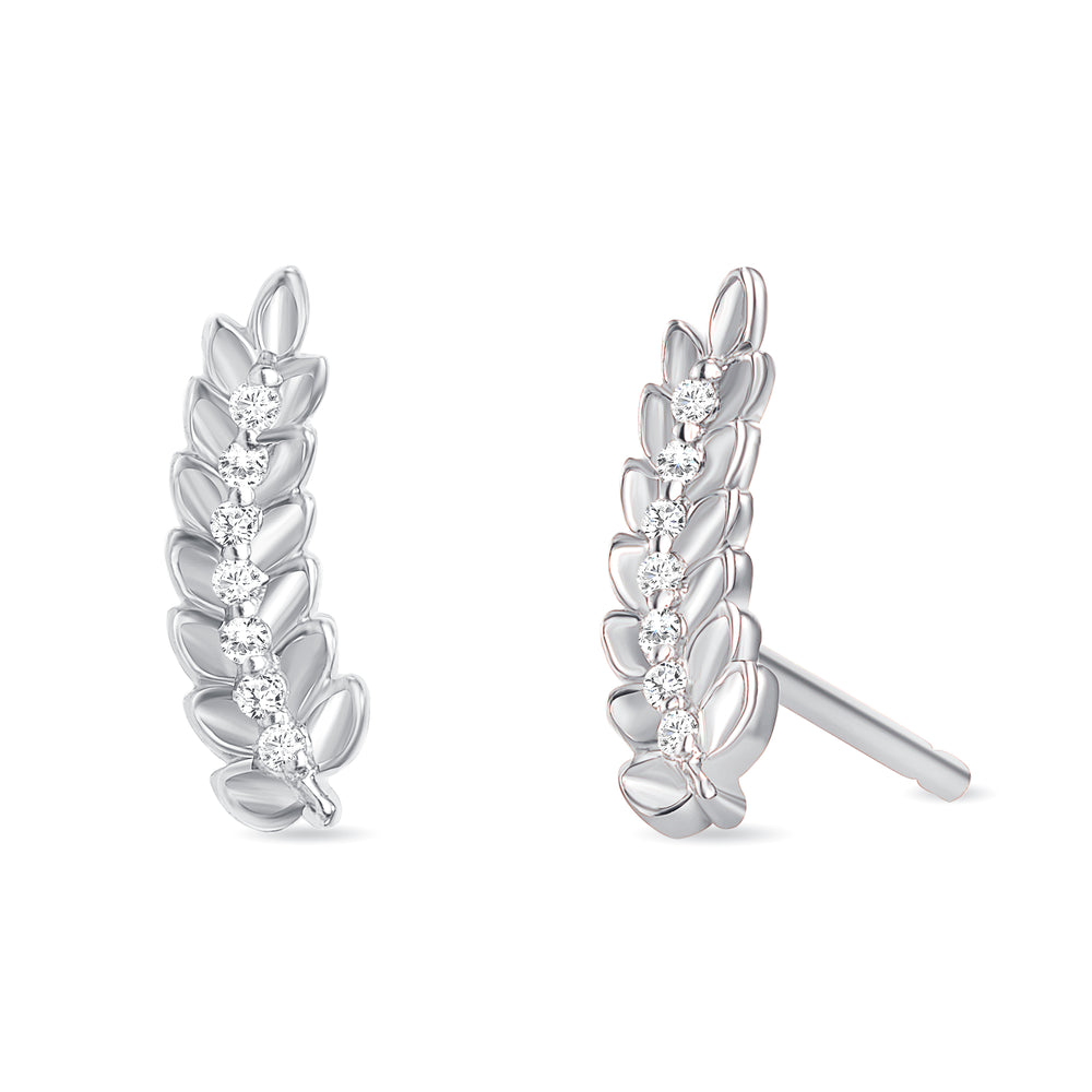 Leaf Diamond Earrings White Gold