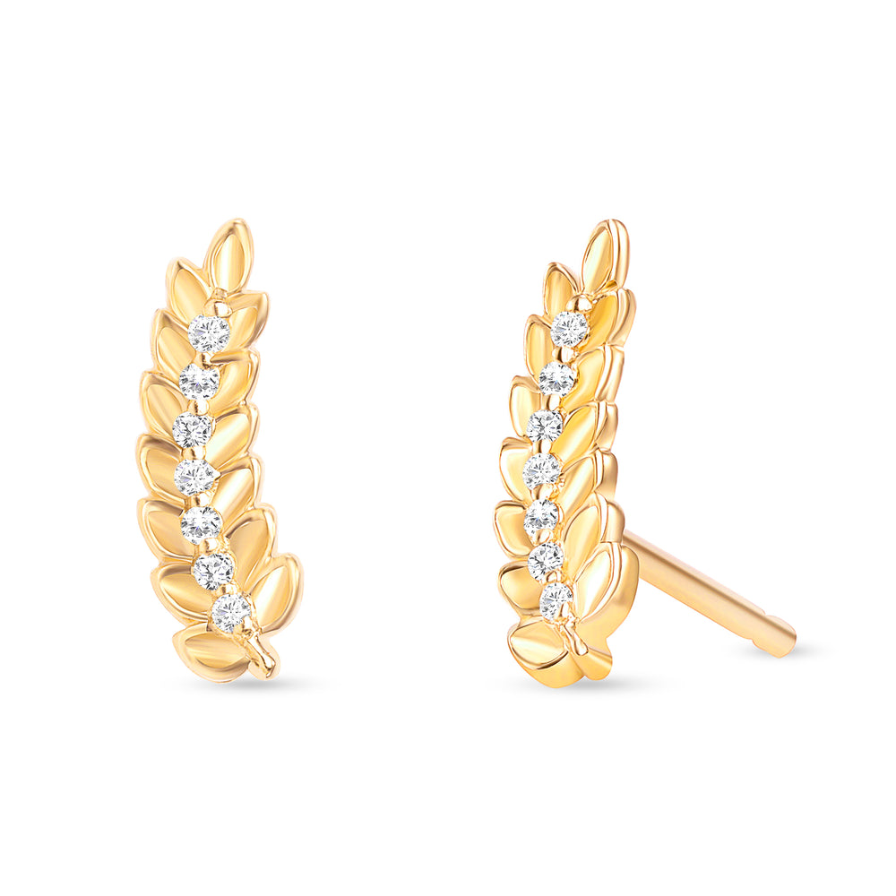 Leaf Diamond Earrings Yellow Gold