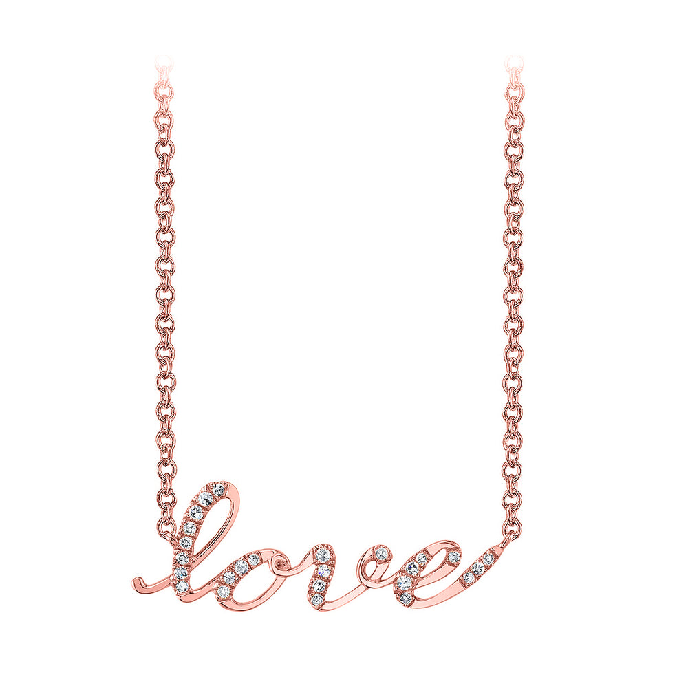 14k rose gold love script diamond necklace