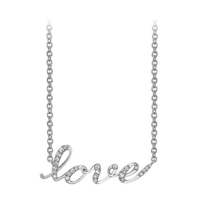 14k white gold love script diamond necklace