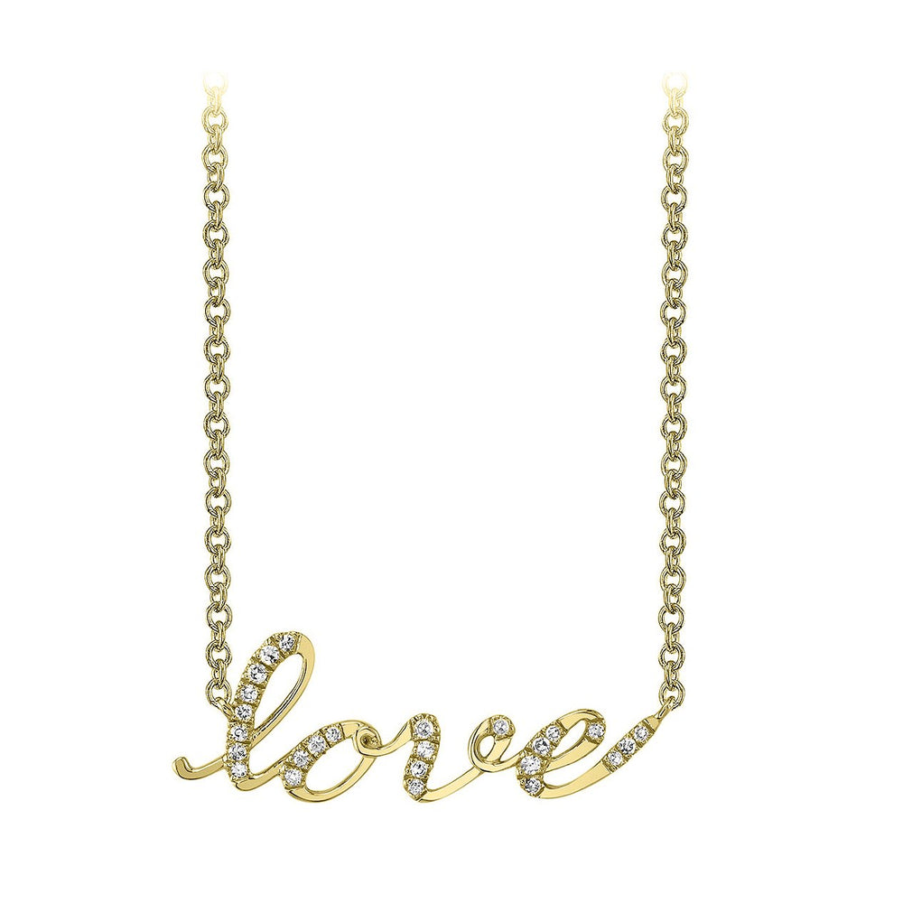14k yellow gold love script diamond necklace