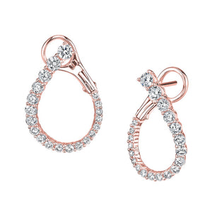 14k rose gold diamond hoops