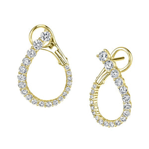 14k yellow gold diamond hoops