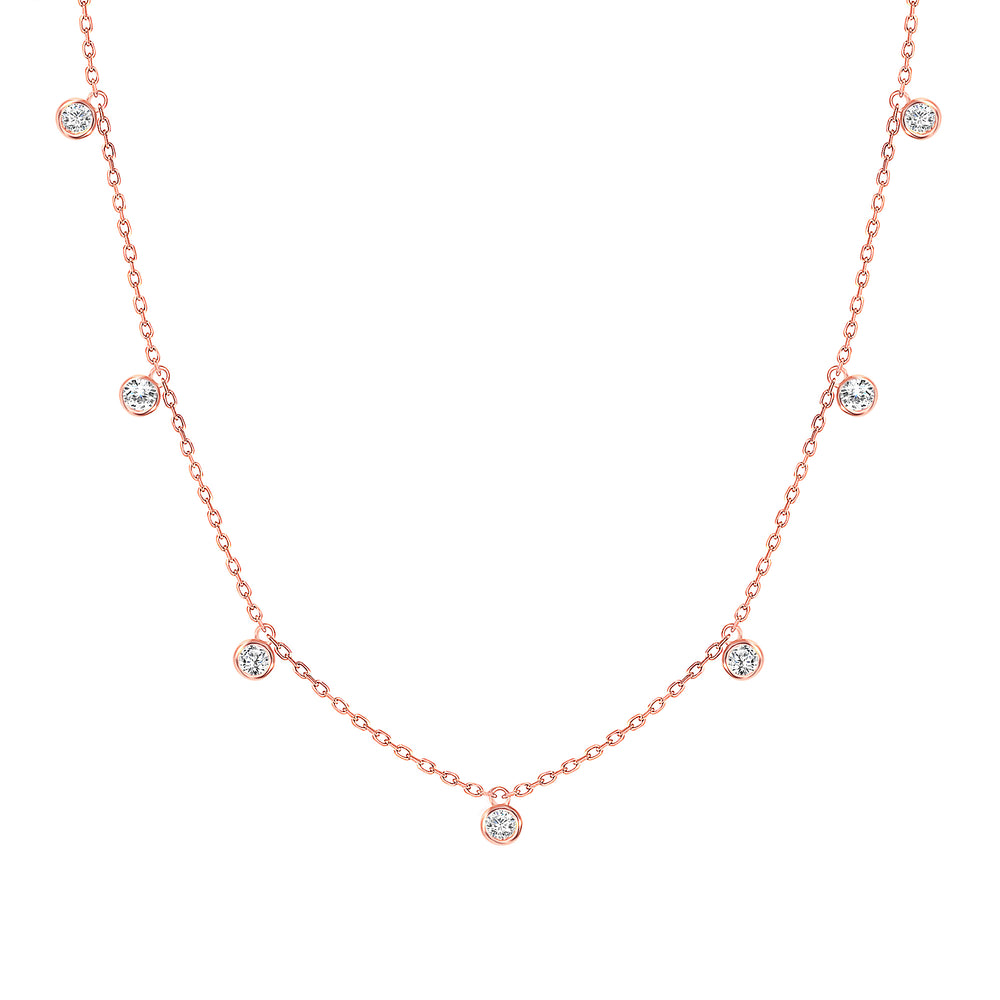 Rose Gold Diamond bezel hanging necklace
