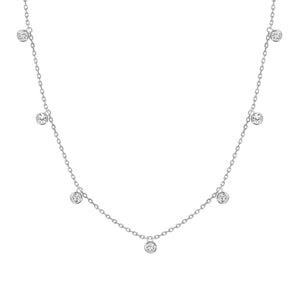 white gold diamond bezel hanging necklace