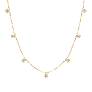 yellow gold diamond bezel hanging necklace