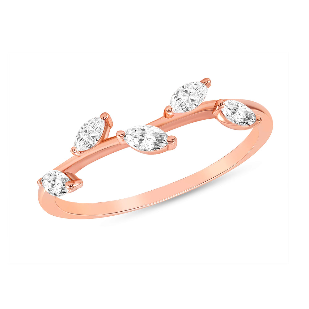 Pear shape diamond stack-able ring in rose gold
