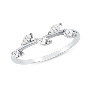 Pear shape diamond stack-able ring in white gold