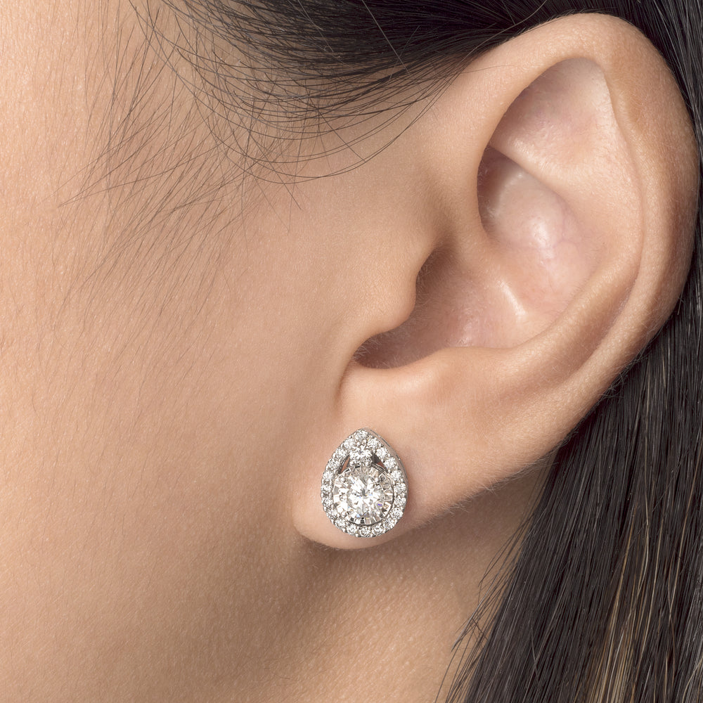 White Gold Diamond Tear Drop Earrings