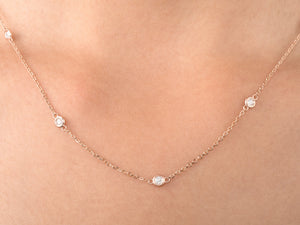 Bezel Train Diamond Necklace on Woman