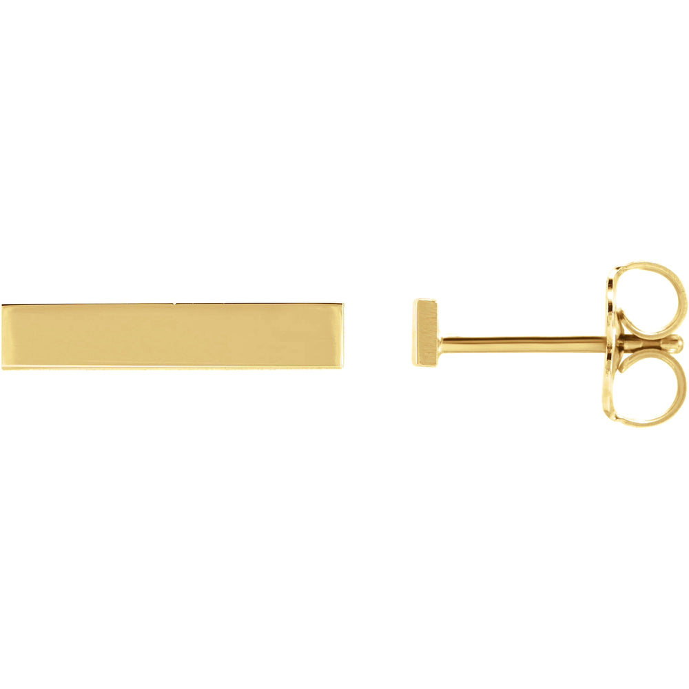 Earring Bar In Yellow Gold Personalize