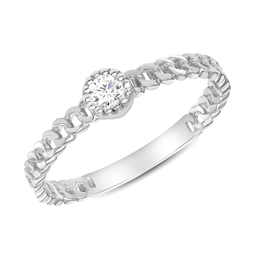 White Gold Diamond Ring Cuban Chain Bezel