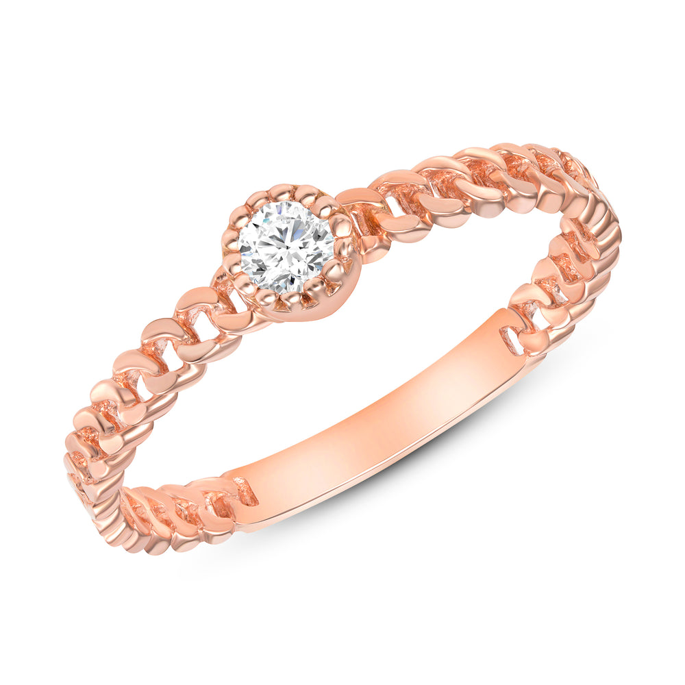 Rose Gold Diamond Ring Cuban Chain Bezel