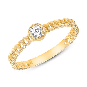 Yellow Gold Diamond Ring Cuban Chain Bezel