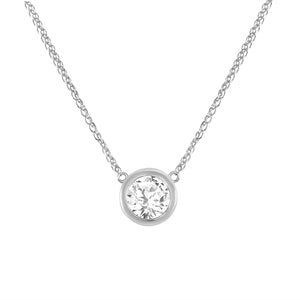 White Gold Diamond Bezel Necklace