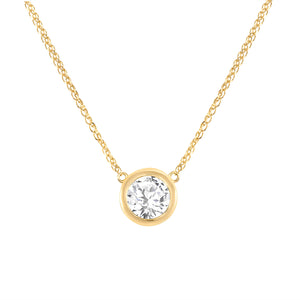 Yellow Gold Bezel Diamond Queen Necklace