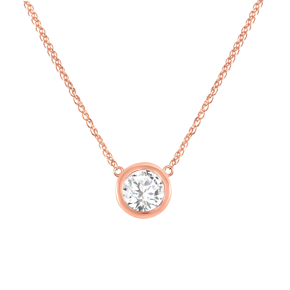 Rose Gold Diamond Bezel Necklace