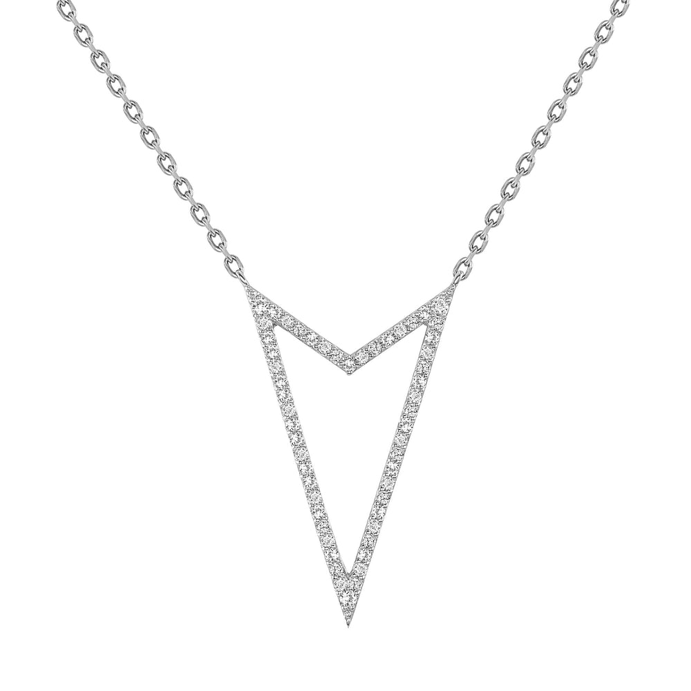 White Gold Rock Star V Shaped Necklace