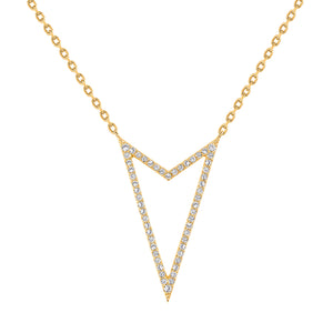 Yellow Gold Rock Star V Shaped Necklace