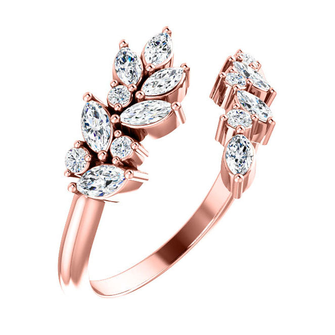 14k rose gold marquise cluster ring