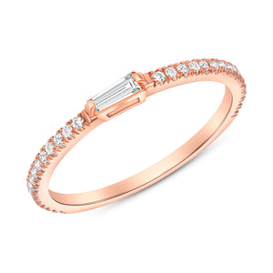 Rose Gold Baguette Round Diamond Ring