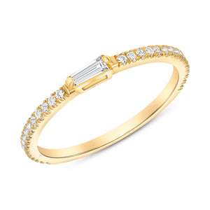 Yellow Gold Baguette Stack able Diamond Ring