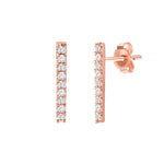 White Gold Diamond Bar Earrings