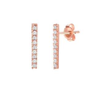 Rose Gold Nine Stone bar earrings