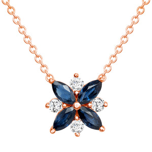 rose gold sapphire diamond pendant necklace