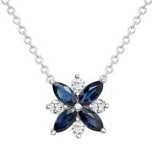 white gold sapphire diamond pendant necklace