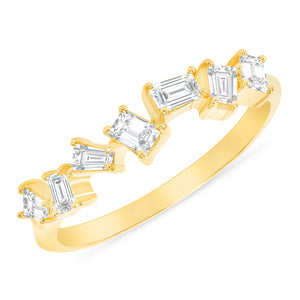 Yellow Gold Scattered Baguette Diamond Ring