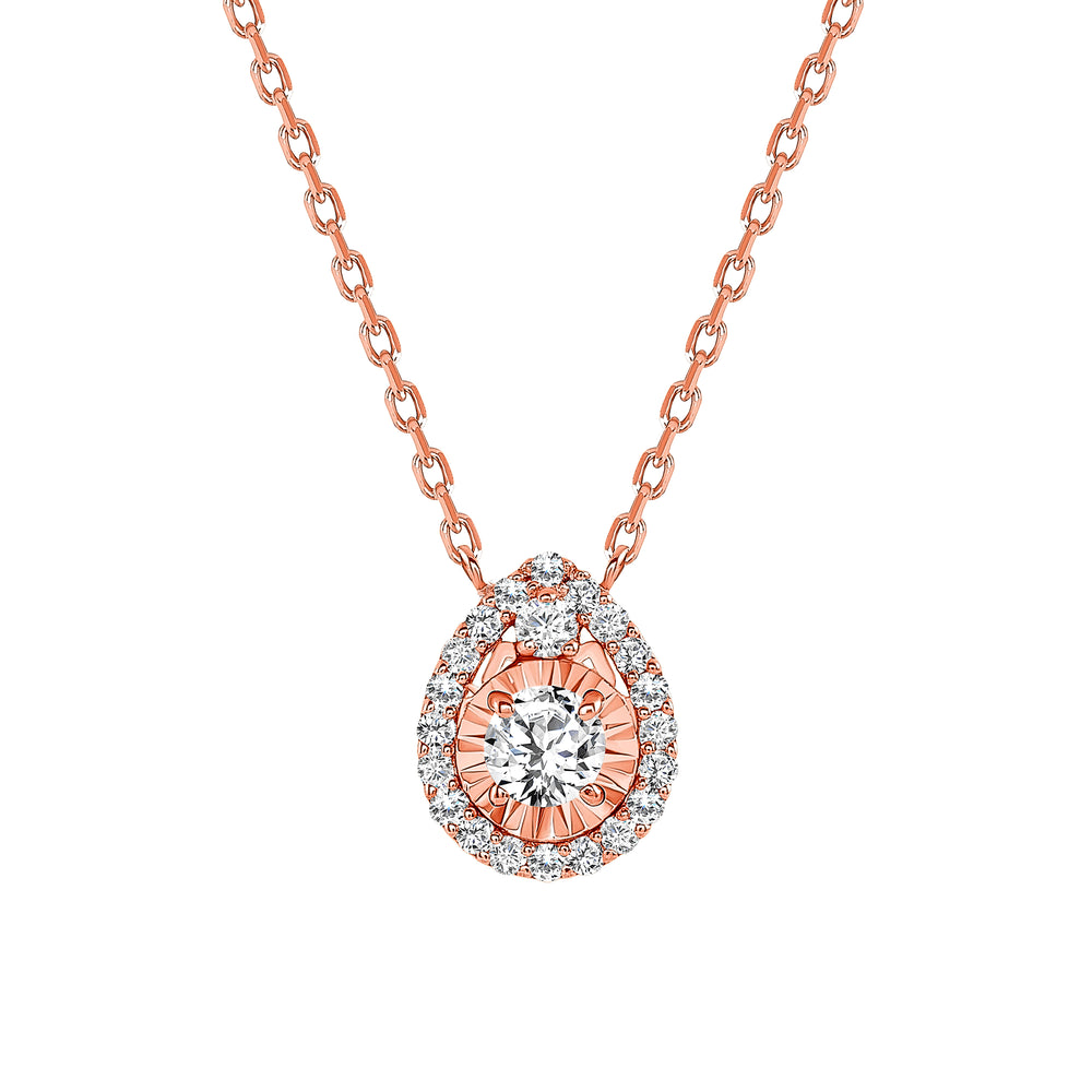 Rose Gold Diamond Pendant Tear Drop Necklace
