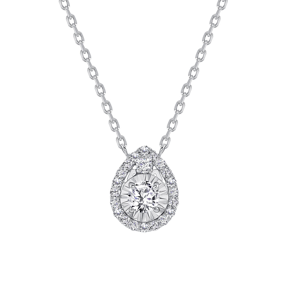 White Gold Diamond Diamond Pendant Tear Drop Necklace