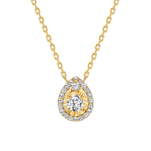 Yellow Gold Diamond Pendant Tear Drop Necklace