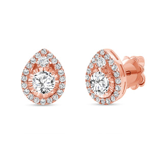 Rose Gold Diamond Tear Drop Earrings