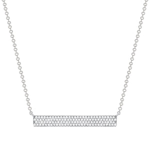 White GoldThick Diamond Bar Necklace