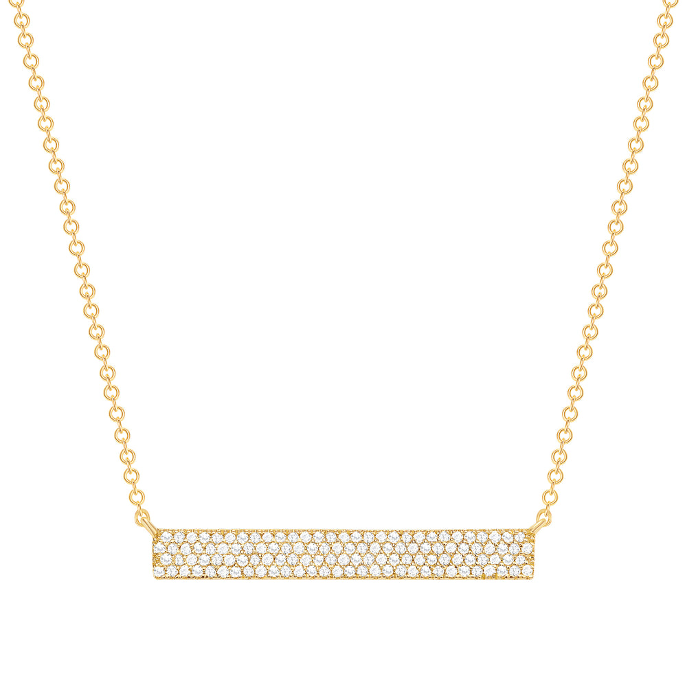 Yellow Gold Thick Diamond Bar Necklace