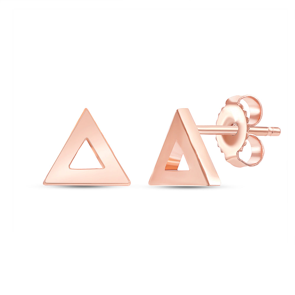 Rose Gold Triange shaped thick edge earrings